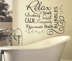 Soak & Relax Vinyl Bubbles Bath Quote / Large Vinyl Bathroom Wall Sticker X95 | eBay