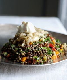 Lentils with broiled eggplant {ottolenghi} Made this tonight - so delicious! Subbed plain yogurt for the creme fraiche broiled eggplant-- interesting idea! Lentil Recipes, Vegetarian Recipes, Cooking Recipes, Healthy Recipes, Salad Recipes, Ottolenghi Recipes, Yotam Ottolenghi, Best Cookbooks, Vegetarian
