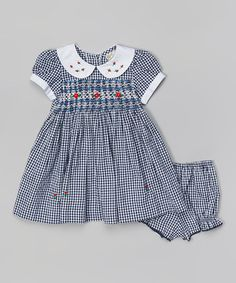 Another great find on #zulily! Navy & White Gingham Smocked Dress & Bloomers - Infant & Toddler by sissymini #zulilyfinds