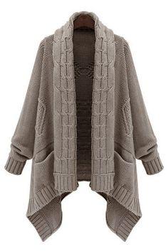 Kahki Wool Fabric Twist Scarf Collar Pocket Design Cardigans - US$49.95 -YOINS