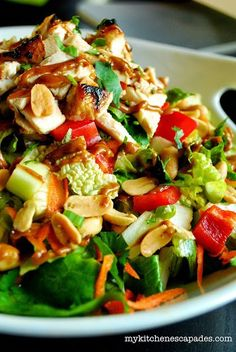 """""""Thai Chicken Salad: Fresh, healthy greens combine with grilled and marinated chicken, veggies, peanuts, a spicy Thai peanut sauce and sweet chili dressing. This is a Thai salad recipe you just can't stop eating and super kid friendly as well. Thai Salads, Healthy Salads, Healthy Cooking, Healthy Breakfasts, Eating Healthy, Spinach Salads, Spinach Recipes, Asian Cooking, Potato Recipes"""