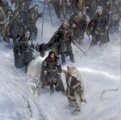 Jon Snow, Ghost, Lord Commander Jeor Mormant and the Night's Watch on the Great Ranging beyond the Wall