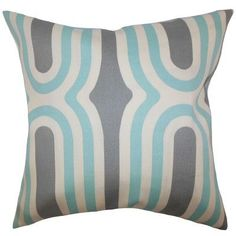 """The Pillow Collection Persis Geometric Throw Pillow Color: Aquamarine, Size: 24"""" x 24"""""""