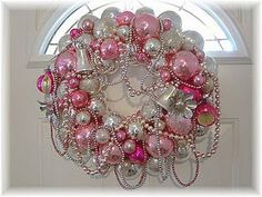 Christmas •~• vintage blue, gold, & pink wreath | Holiday Wreaths ...