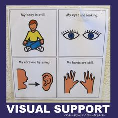 Visual Prompts, Visual Schedules and Visual Supports for Children with Special Needs: Classroom Adaptations for Visual Learners via RainbowsWithinReach Classroom Rules, Classroom Behavior, Autism Classroom, Preschool Classroom, Classroom Management, Classroom Organization, Classroom Ideas, Behavior Management, Kindergarten Fun