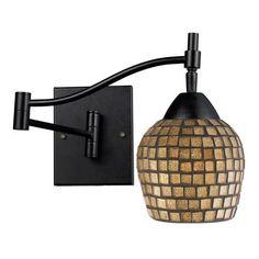 10151/1DR-GLD   Celina 1 Light Swingarm Sconce In Dark Rust And Gold Leaf - 10151/1DR-GLD