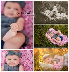 Umbrellas for Four | Nikkala Anne Photography  baby girl 6 months old photo session photography inspiration grass toes pink blue