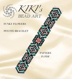 This is an own designed pattern in PDF format, downloadable directly from Etsy. This pattern is for my Funky flowers peyote bracelet, which is created in odd, single peyote. The pdf file includes: 1. a large picture of the pattern 2. a large, detailed graph of the pattern, 3. a bead