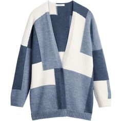 Sandwich Multicoloured Oversized Cardigan ($140) ❤ liked on Polyvore featuring tops, cardigans, women knitwear, blue cardigan, long length cardigan, colorful cardigan, multi color tops and multi color cardigan