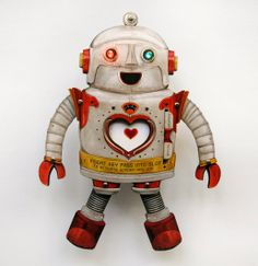 Electric Valentine Robot Paper Toy with blinky lights