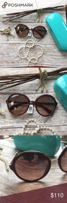 KATE SPADE burgundy round frame sunglasses Fashion forward big round glasses with gold tone sides make these your go to fashion sunnies! kate spade Accessories Sunglasses