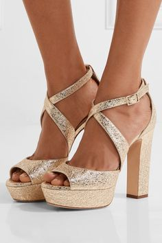 Jimmy Choo - April Metallic Crinkled-leather Platform Sandals - Gold - IT35.5