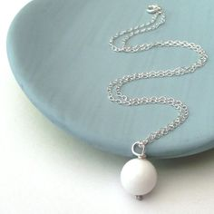 White Jade Necklace by ZeldaWong on Etsy