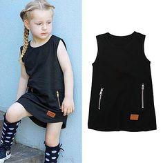 Toddler Kids dress Sleeveless Crew neck Irregular hem Princess Summer Casual