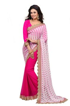 Pink With Cream Embroidery Catonic Butti Bemberg Poly Georgette Saree With Blouse SASPR203