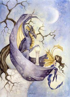 Fantasy Fine Art Print - 5x7 - The Orb - Enchanting, Dragon, Fairy, magical, purple, mythology, wings. $10.00, via Etsy.