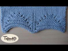 Borde para la parte baja de jerseys o chaquetas. Tejido en dos agujas - YouTube Lace Knitting Stitches, Knitting Paterns, Knitting Videos, Knitting Designs, Crochet Designs, Baby Knitting, Crochet Patterns, Knit Crochet, Crochet Hats