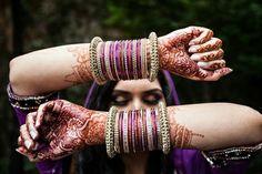 purple + gold bangles| Naureen & Ghazaly's Super Colorful Mayoon & Mehndi Ceremonies- Part II - Gallery - TheBigFatIndianWedding.com