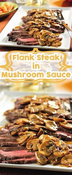 Saving for the mushroom sauce.Recipe for Flank Steak with Mushroom Sauce - This skillet recipe is a simple and delicious way to prepare flank steak.and the flavorful sauce is absolutely divine! Flank Steak Recipes, Meat Recipes, Cooking Recipes, Water Recipes, Grilling Recipes, Thin Steak Recipes, Recipies, Paleo Vegan, Steaks