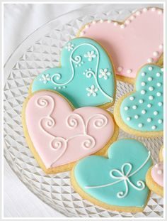 blue heart cookies - Google Search