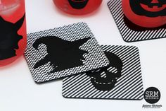 SRM Stickers Blog - Halloween Mason Jars & Coasters #vinyl #patternedvinyl #halloween #masonjars #altered #DIY #digitalcutfiles Patterned Vinyl, Coasters, Stickers, Projects, Cards, Log Projects, Blue Prints, Coaster, Maps