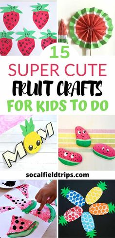 Check out this list of 15 Adorable Fruit Crafts for Kids bursting with all sorts of fun crafts and activities. Weve got loads of ideas for you with everything from a cute watermelon fan to a strawberry counting game to a pop up pineapple card. Strawberry Crafts, Watermelon Crafts, Fruit Crafts, Food Crafts, Easy Crafts, Toddler Art, Toddler Crafts, Preschool Crafts, Projects For Kids
