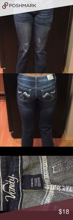 """Junior's denim jeans Vanity """"Taylor"""" flare denim jean, lightly distressed, extra long & very flattering. Worn once. Jeans Overalls"""