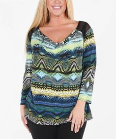 Loving this Green & Blue Geometric Cowl Neck Top - Plus on #zulily! #zulilyfinds