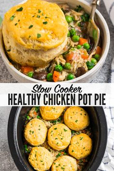 This EASY and healthy crockpot chicken pot pie is lighten up but tastes just as thick and comforting as the original, thanks to a few simple swaps. Top it with biscuits for an easy dinner. The slow cooker does the work! Chicken Pot Pie Filling, Slow Cooker Chicken Healthy, Slow Cooker Recipes, Crockpot Recipes, Easy Chicken Pot Pie Soup Recipe, Chicken Recipes, Crock Pot Soup, Tater Tots, Hamburgers