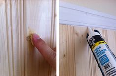 How to paint beadboard/planked wall - wood filler, DAP Acryrlic Latex Caulk Plus Silicone (paintable caulk), Zinsser Bullseye 1-2-3 Primer, semi gloss paint to match baseboards