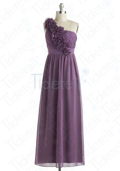 A-line One Shoulder Long Chiffon Bridesmaid Dresses Purple Handmade Flowers  Affordable Bridesmaid Dresses 9bb25b6da26d