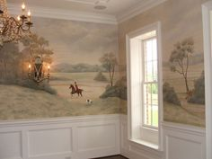 Don't know why I am compelled to think that a fox hunt mural is so great in a dining room...um...but it is.