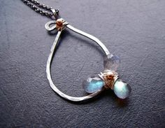Magnolia Labradorite Sterling Silver and Gold, Unique Handmade Jewelry by Katherine Wise.