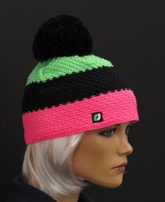 Dámská zimní čepice R Jet For You Black Neon, Pink And Green, Jet, Crochet Hats, Beanie, Autumn, Knitting, Projects, Fashion