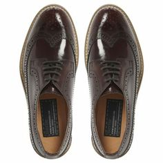 BERTIE LADIES Red LESSING - Lace Up Leather Brogue | Dune Shoes Online