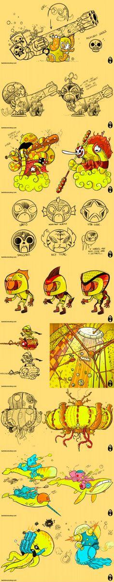 Game Concept Art, Character Concept, Monster Illustration, Illustration Art, Space Artwork, Sketches Tutorial, Monster Design, Sketch Markers, Character Design Animation