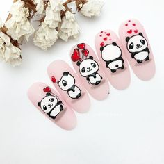 Top 10 Reasons Why People secretly Love Valentines Day drawings Valentines day shopping and , Panda Nail Art, Kawaii Nail Art, Animal Nail Art, Cartoon Nail Designs, Nail Art Designs, Nail Art Hacks, Nail Art Diy, Nail Drawing, Valentine Nail Art
