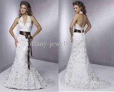Wholesale 2011 Sexy A-Line wedding dress Halter wedding dresses chapel train Christmas gift lace BH330, Free shipping, $97.28-117.3/Piece | DHgate