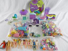 HUGE Lot of Polly Pocket Clothes Purses Shoes Dolls Car over 6lbs #Mattel #MixedLot