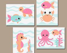 Girl OCEAN Nursery Wall Art, Canvas or Prints, Baby Girl Nautical Nursery Artwork, Child Sister Bathroom, Girl Sea Animals Decor, Set of 4