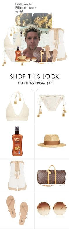 """Holidays on the Philippines beaches w/ Niall"" by lauraluquez ❤ liked on Polyvore featuring SHE MADE ME, Hawaiian Tropic, Lanvin, Anna Kosturova, Louis Vuitton, Tkees, Linda Farrow, beach, NiallHoran and holidaystyle"