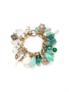 Stephen Dweck              Green Multi-Shape Charm Bracelet. Bronze, rock crystal, amazonite, turquoise, fluorite, jade, white coral, mother of pearl, and freshwater pearl multi-shape charm bracelet