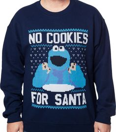 Cookie Monster Faux Christmas Sweater: Sesame Street Mens Sweatshirt