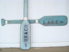 boat paddle wood oar lake house teal nautical by folkybirdsandfish, $40.00