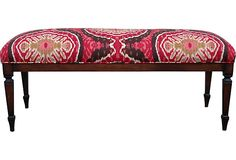 Bench Upholstered in Red Ikat
