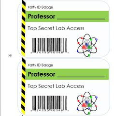 Science birthday party ID badge.