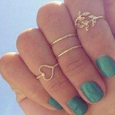 4 pçs/set ouro prata 925 cristal Urban Plain acima Knuckle anel banda Midi anel folha coração Knuckle anéis 3081 em Anéis de Jóias no AliExpress.com | Alibaba Group