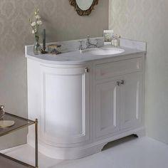 Burlington 100 3-Door Corner Vanity Unit & Minerva Worktop with Basin (Dark Olive - Right Hand)