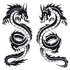 Black and White Dragon Tattoo