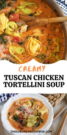 Tuscan-style Creamy Chicken Tortellini Soup is one of the easiest and most flavorful soups you'll ever make. Packed with roasted chicken, fire-roasted tomatoes, garlic, kale and cheese tortellini…..this velvety soup recipe will be on repeat all year long. Grilling Recipes, Crockpot Recipes, Soup Recipes, Dinner Recipes, Roast Chicken Soup, Roasted Chicken, Cheese Tortellini Soup, Garlic Kale, Chicken